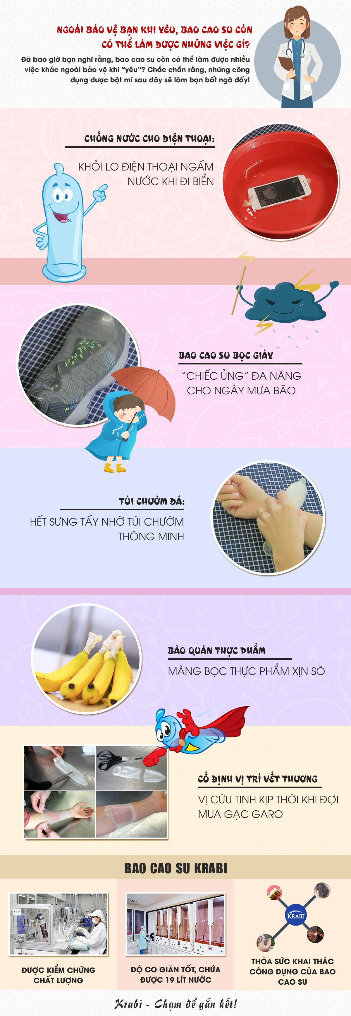 [Infographic] Ngoài bảo vệ bạn khi yêu, bao cao su còn có thể làm được những việc gì?